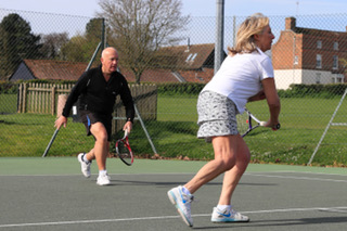 Steve takes part in a coaching day at Woodbridge Tennis Club