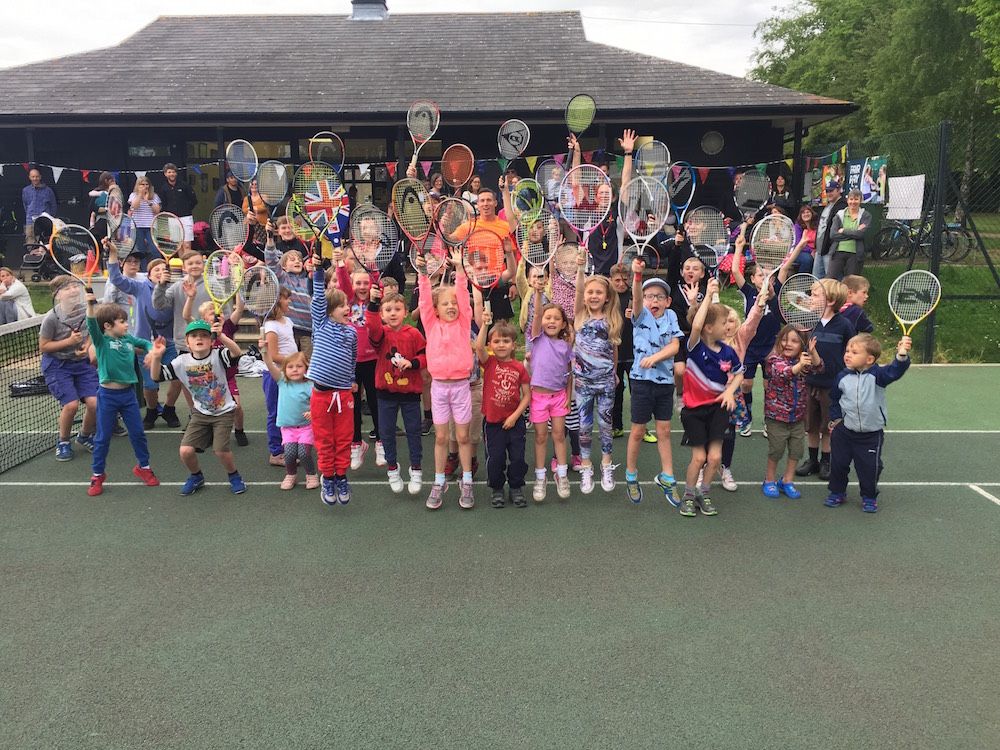 Children taking part in the Great British Tennis Weekend at Woodbridge Tennis Club