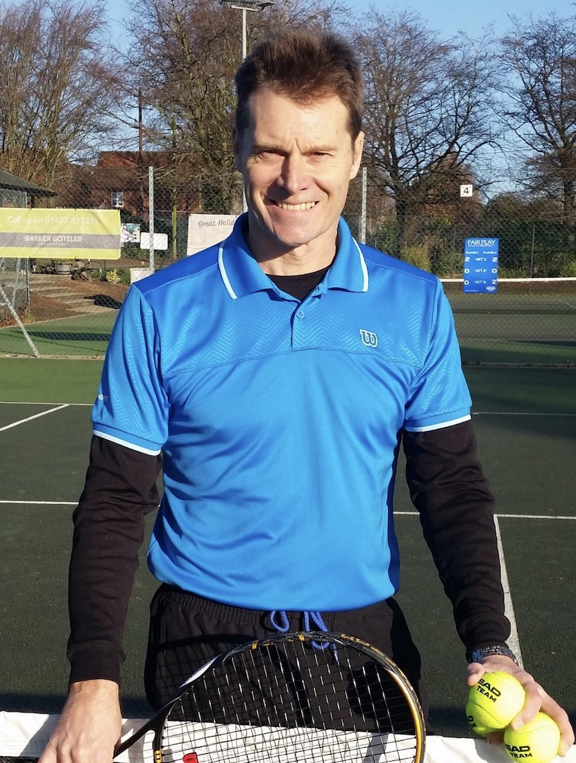 Rob Rickard, a tennis coach at Woodbridge Tennis Club in Suffolk