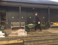 Hard at work on new garden at Woodbridge Tennis Club