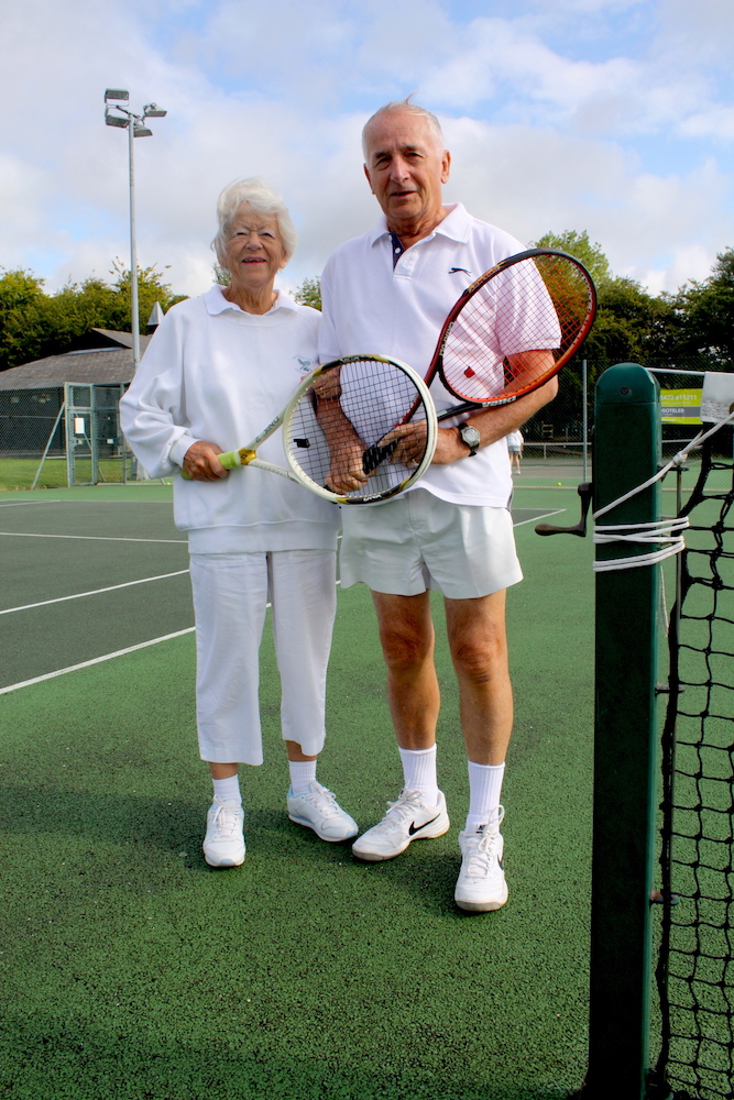 Woodbridge Tennis Club members Max and Margaret Pemberton on court